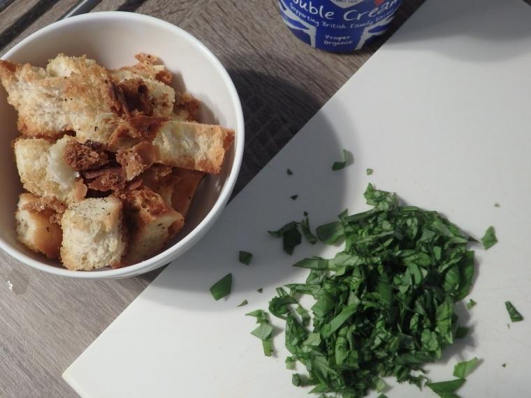 Croutons and basil